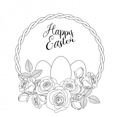 Easter motive with white eggs and roses, illustration