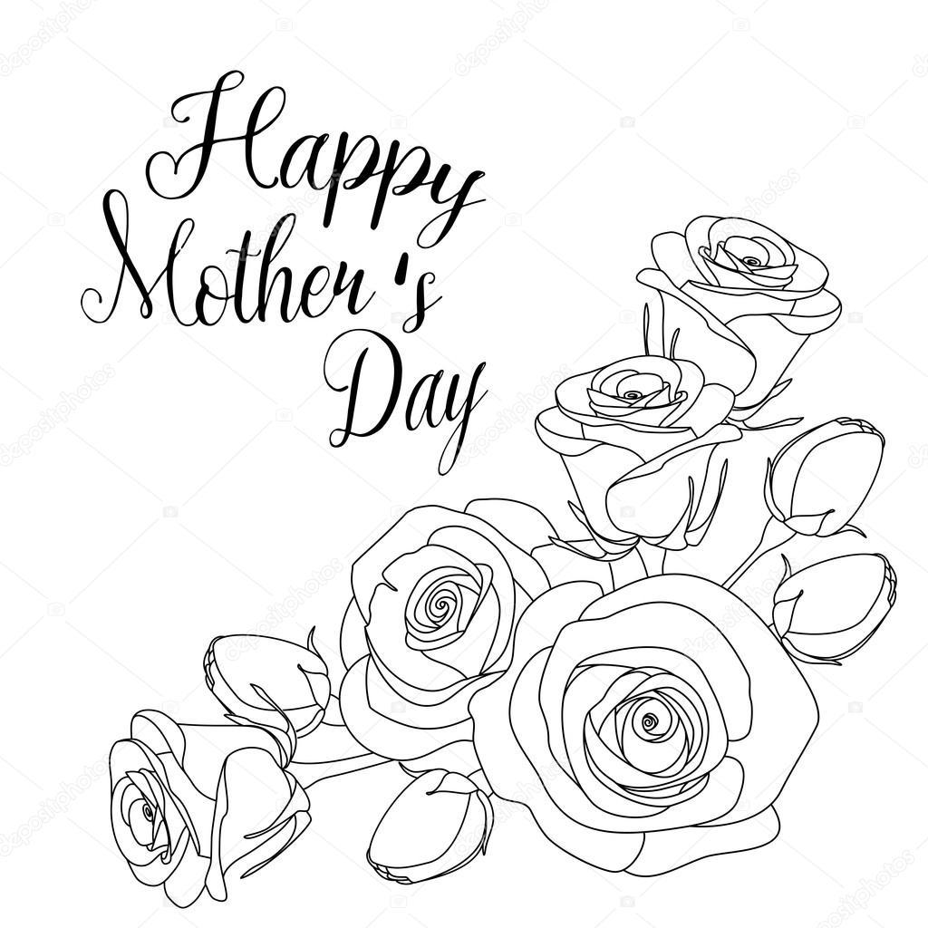 tarjeta de felicitación día de las madres con rosas, página para ...