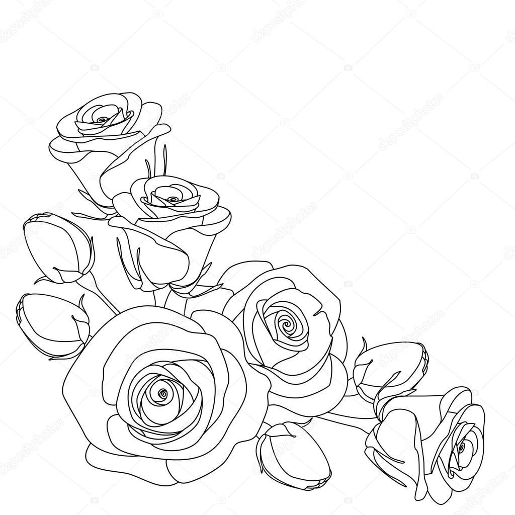 rozen zwart wit afbeelding kleurplaat pagina