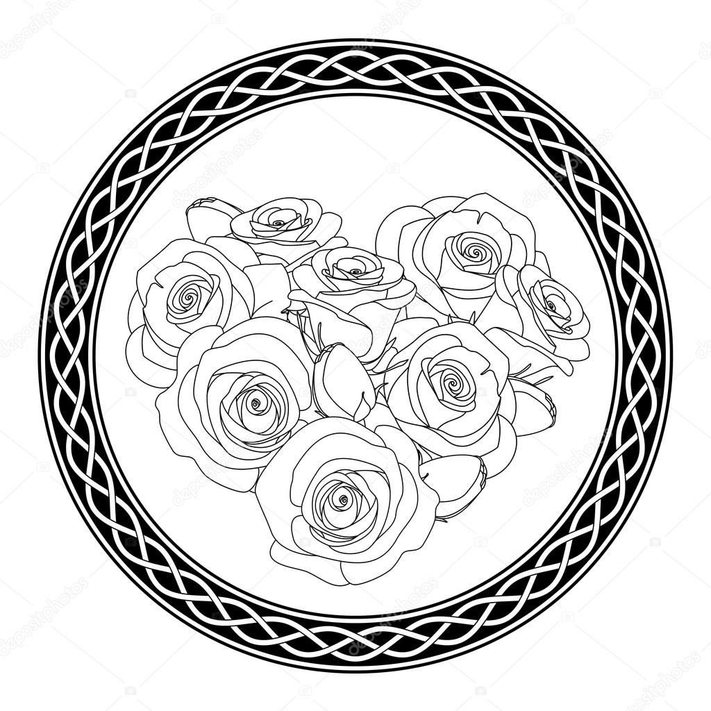 Adorno con motivo celta y rosas, página de antiestrés para colorear ...