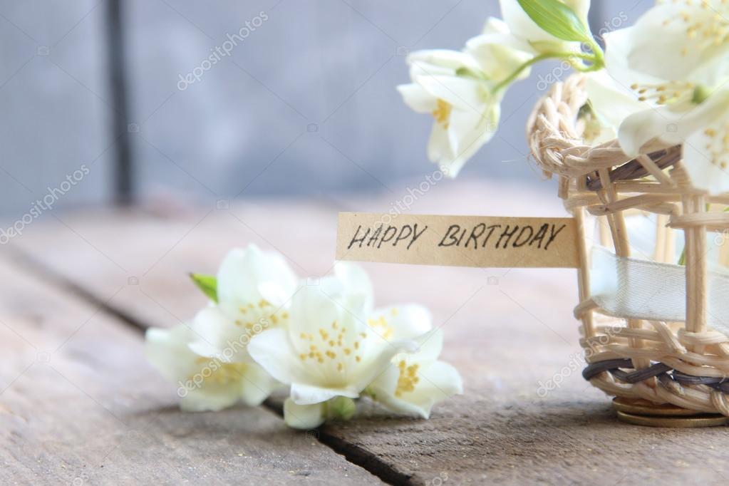 boldog szülinapot virágok Boldog születésnapot szöveg és virágok — Stock Fotó © Markgraf  boldog szülinapot virágok