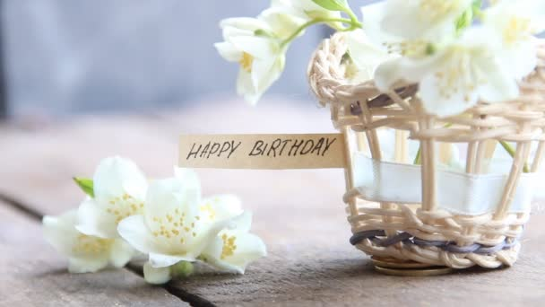 boldog boldog boldog születésnapot szöveg Boldog születésnapot szöveg és virágok — Stock Videó © Markgraf  boldog boldog boldog születésnapot szöveg