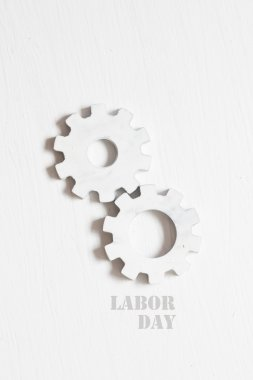 Labor Day idea - text and white gears