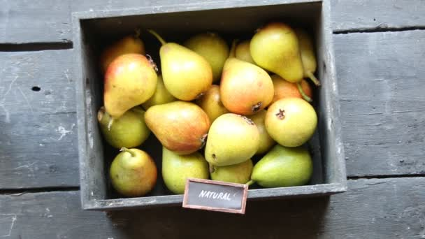 Natural food idea, Healthy Organic Pears and text