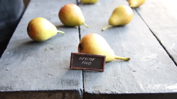 healthy food idea - inscription, and Juicy flavorful pears