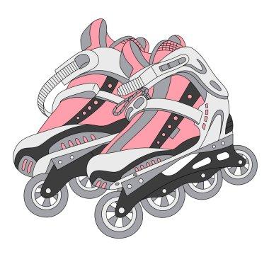 vector color roller skates 02