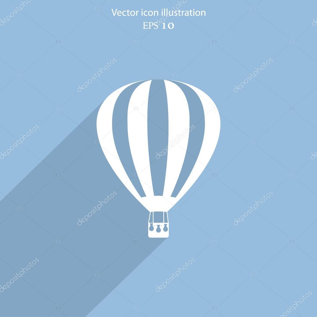 Vector hot air balloon web flat icon.