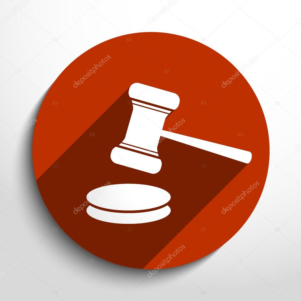 Vector hammer judge web icon.