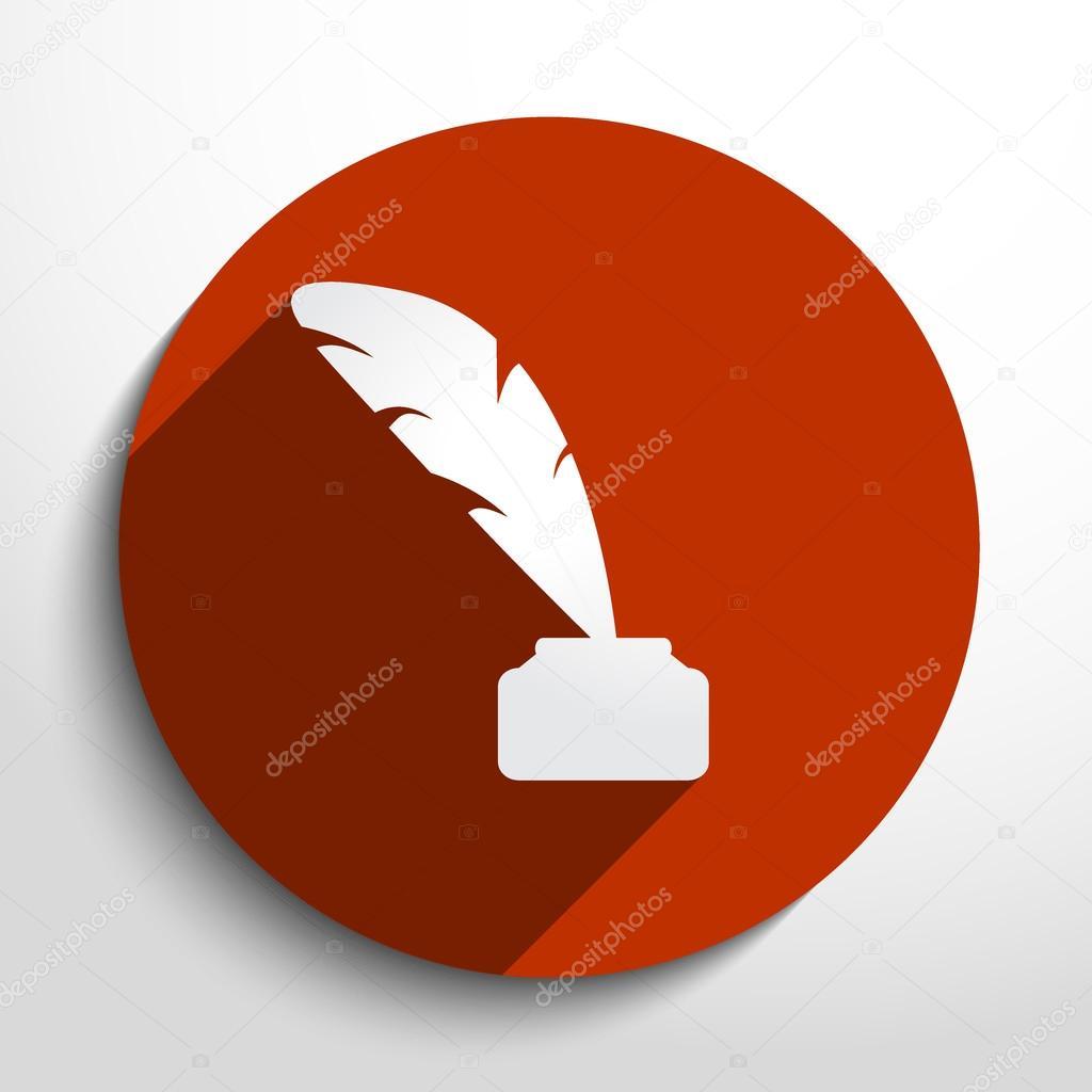 Vector feather pen web icon.