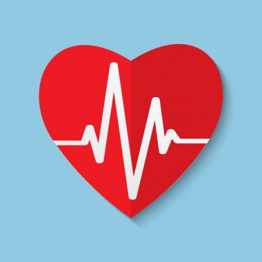 Vector cardiogram or heart rhythm medical icon.