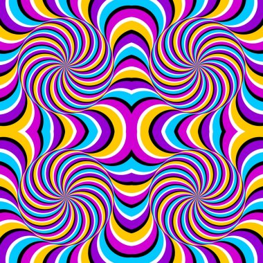 Colourful perpetual motion of spheres (spin illusion). Seamless pattern.