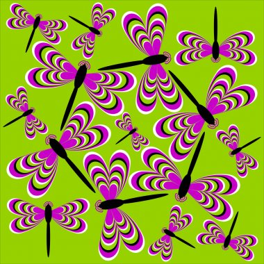 Dance of dragonflies (optical illusion of movement)