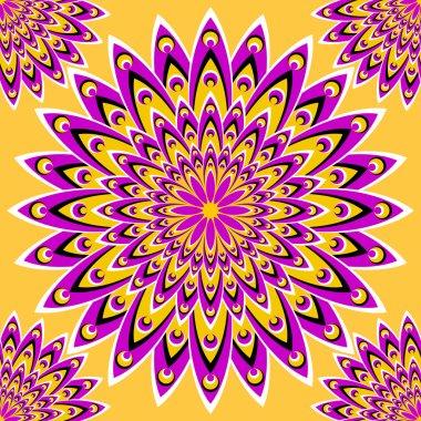Lilac magic flower (motion illusion). Seamless pattern.