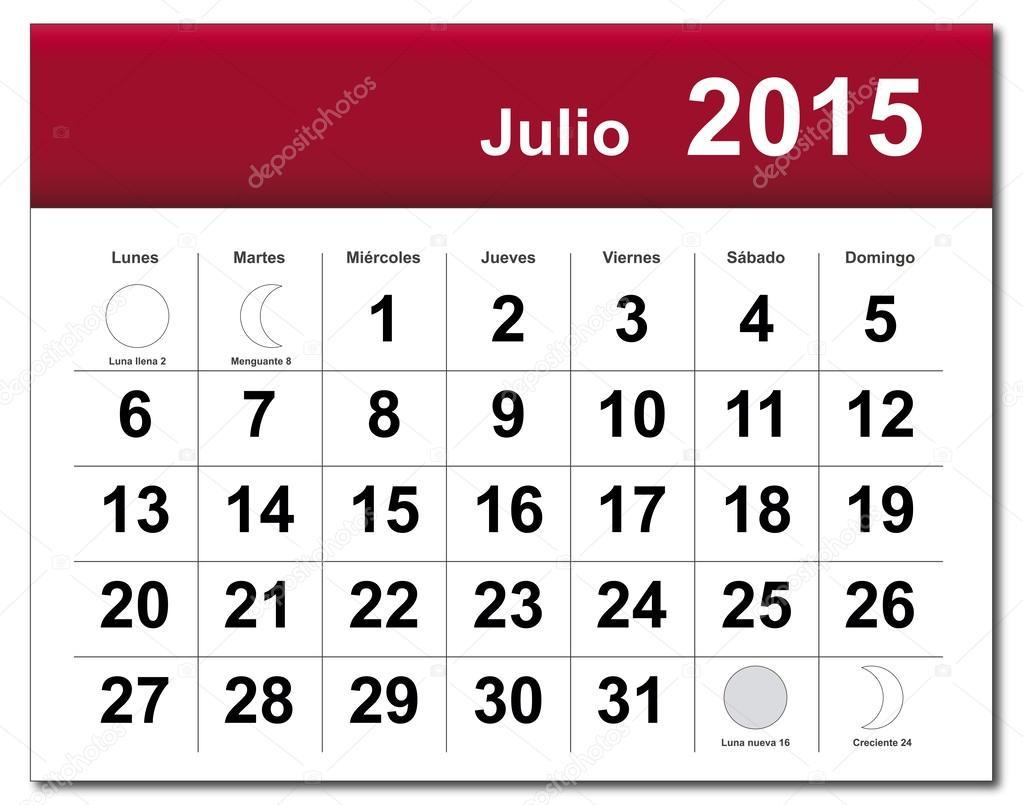 calendar of july 2015