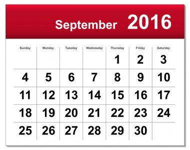 EPS10 file. September 2016 calendar. The EPS file includes the version in blue, green and black in different layers