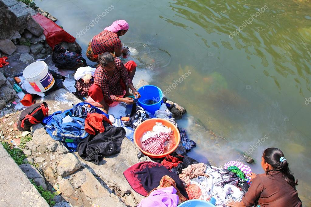 Nepalese women washing clothes