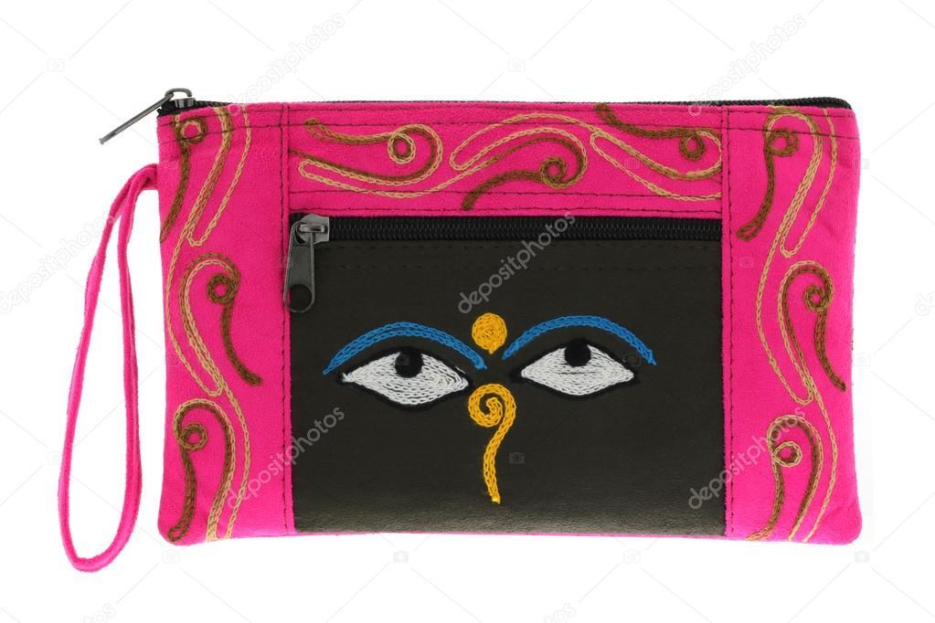Pink Bag With Symbol Nepali Buddha Eyes Stock Photo Sasimoto