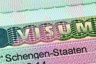Closeup of the Schengen visa with shallow DOF