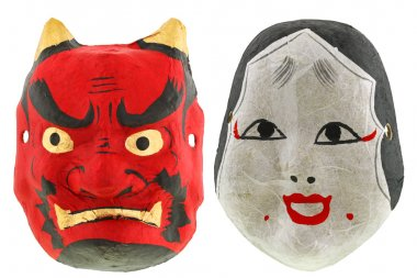 Traditional Japanese theater masks isolated on white