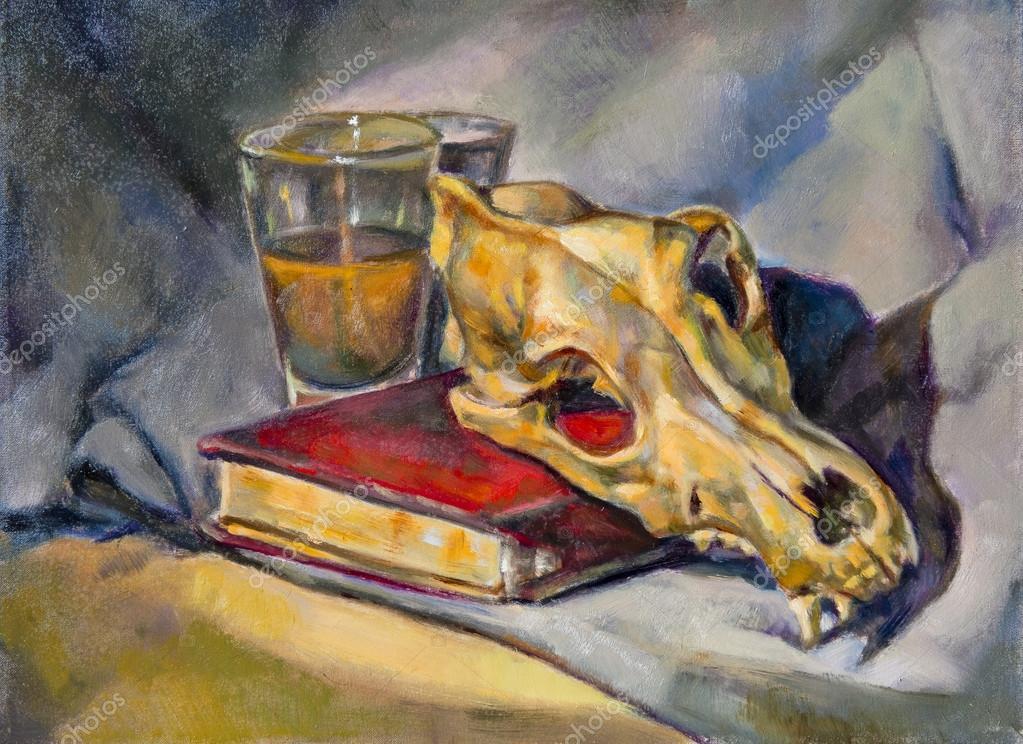 Peinture l 39 huile sur toile d 39 une coupe en verre un - Couper une photo sur paint ...