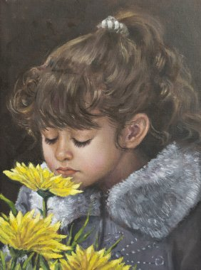 Oil on canvas of a girl next to flowers