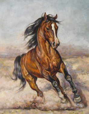 "Картина, постер, плакат, фотообои ""картина лошади в забеге маслом копия картина пейзаж утро средиземноморский"", артикул 81479044"