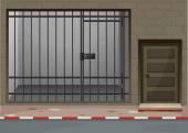 Scéna s vězení místností v budově