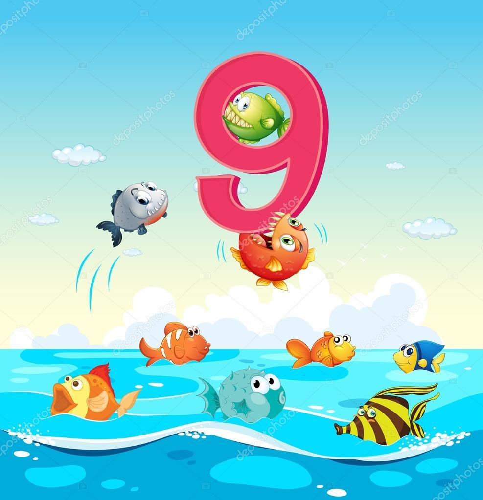 Nummer neun mit 9 Fische im Ozean — Stockvektor © interactimages ...