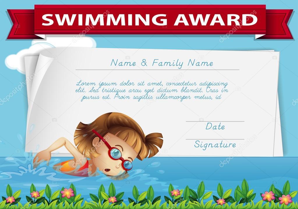 Schwimmen-Auszeichnung-Zertifikatvorlage — Stockvektor ...