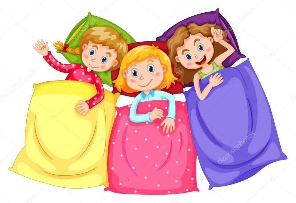 Meninas de pijama, festa do pijama — Vetores de Stock ...