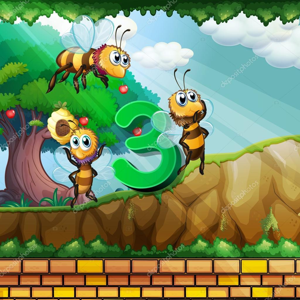 Nummer drie met 3 bijen vliegen in de tuin stockvector for Vliegen in de tuin