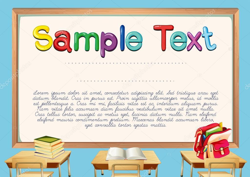 Zertifikatvorlage mit Klassenzimmer Hintergrund — Stockvektor ...