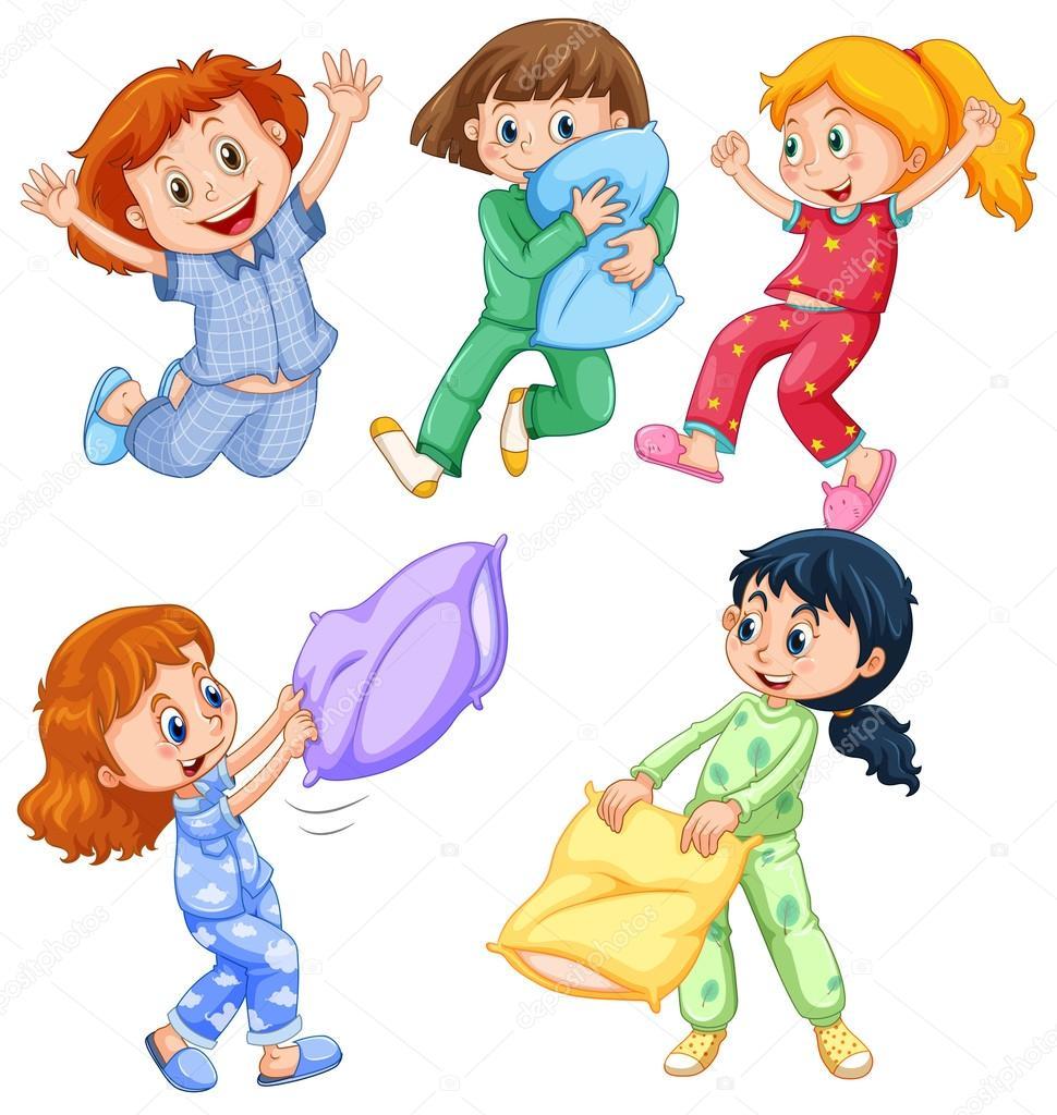 4f57574397 Niñas en pijama en la ilustración de la fiesta — Vector de ...