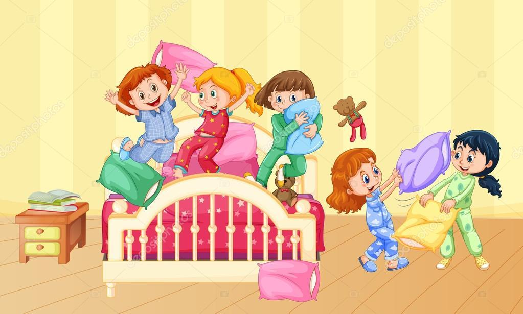 1d7250eb54 Niñas jugando almohada pelea en fiesta — Archivo Imágenes Vectoriales