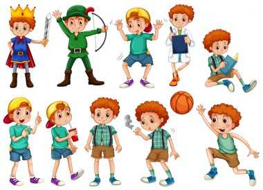 Little boy in different costumes