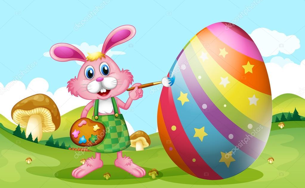 Frohe Ostern mit Hase Malerei Ei — Stockvektor © interactimages ...