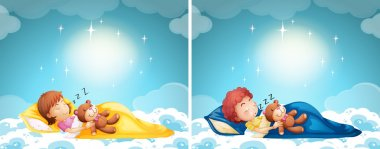Boy and girl sleeping in bed