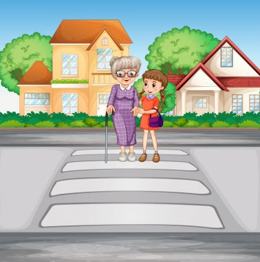 Grandmother and kid crossing the road