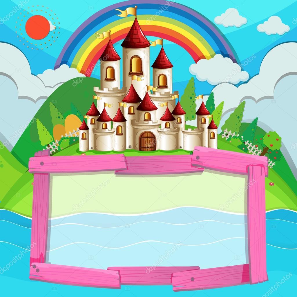 Diseño de marco con Castillo y arco iris — Archivo Imágenes ...