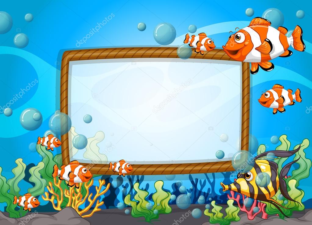 Frame design with fish underwater stock vector for Fish photo frame