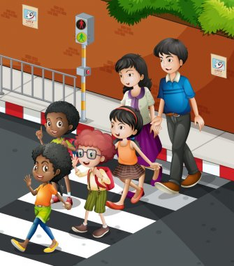 People crossing the road at the zebra  crossing