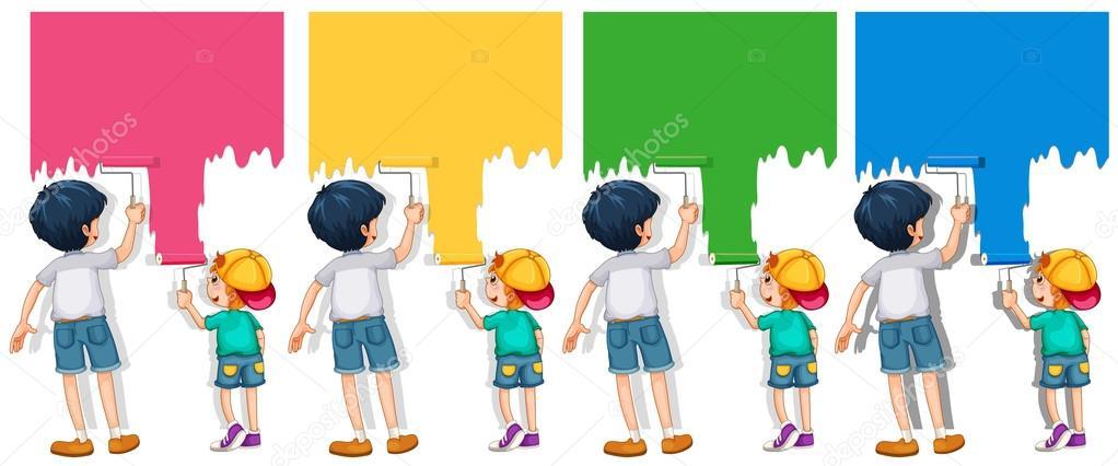 Niños pintando la pared — Vector de stock © interactimages #104632534
