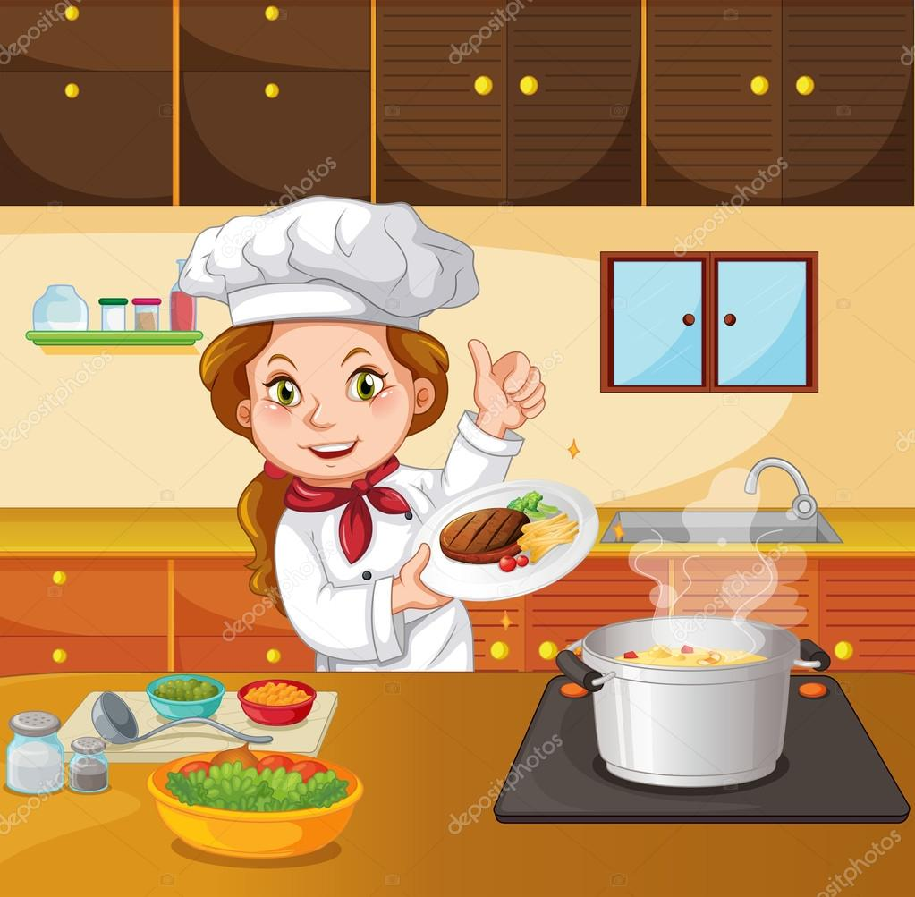 Chef mujer cocinando en la cocina vector de stock - Cocinas chef ...