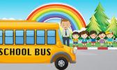 Děti a školní autobus na silnici