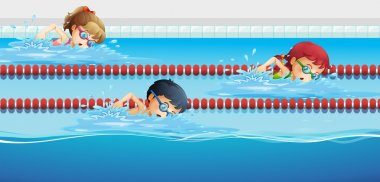 Swimmers racing in the pool