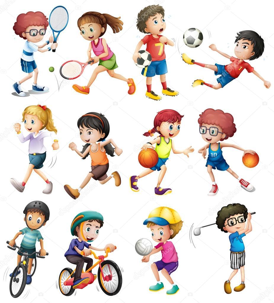 Niños haciendo diferentes deportes — Vector de stock