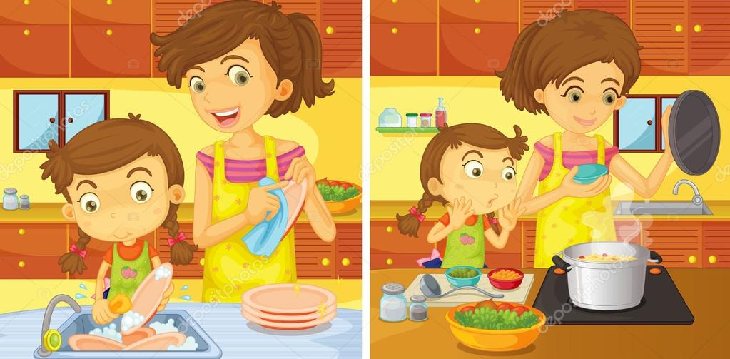 Im genes dibujo mama cocinando ni a ayudando a mam en - Nina cocinando ...