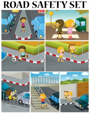 Scenes of children and road safety