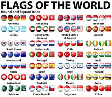 Round and square icons of flags of the world