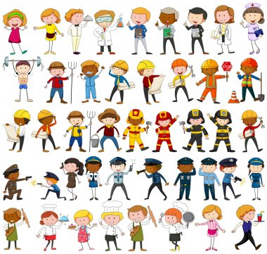 Many characters with different occupations